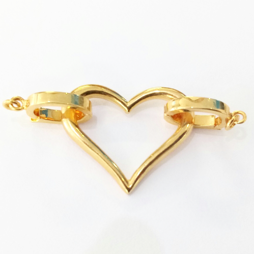 Double sided 'Heart' clasp (Gold)